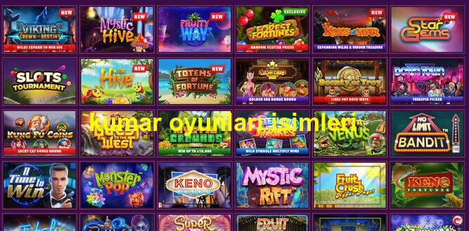 kumar oyunları isimleri listesi